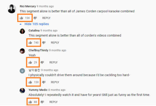 Youtube comment likes