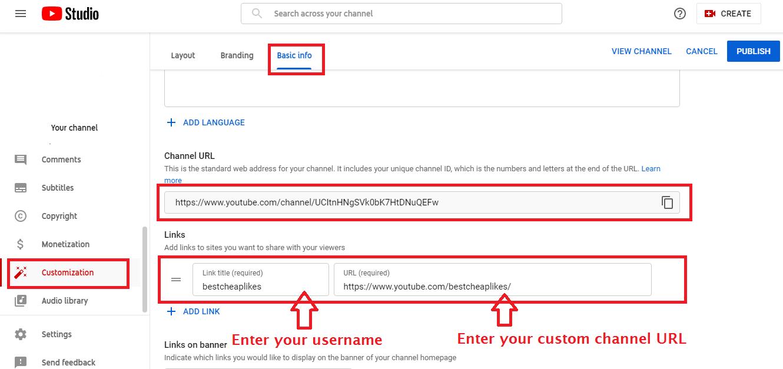 change a custom channel username