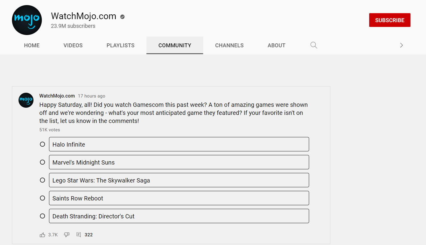 Create poll in Youtube Community Post1